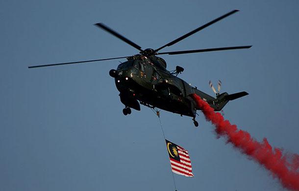 Helicopter flyover during Merdeka Day celebrations