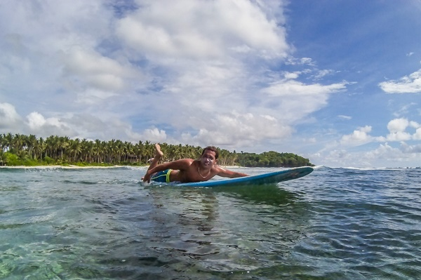 Surfing off Siargao Island, Philippines