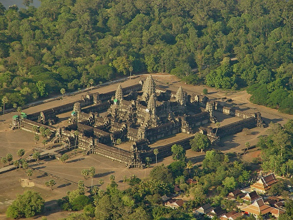 View of Angkor Wat from helicopter