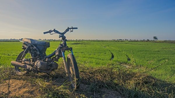 Rugged motorcycle at rest in Cambodia