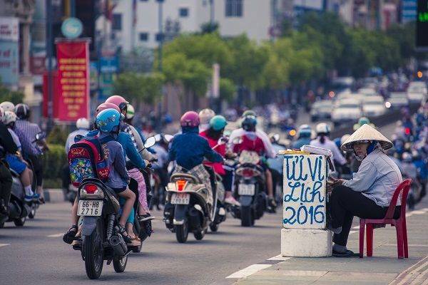 Motorcycle rush hour in Ho Chi Minh City, Vietnam