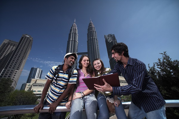 Visitors in front of Petronas Twin Towers