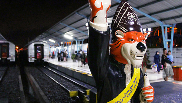 Mascot at Palembang train station, Indonesia