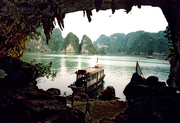 Cave opening in HaLong Bay, Vietnam.