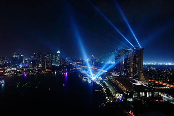Light show at Marina Bay, Singapore. Image courtesy of Singapore Tourism Board.