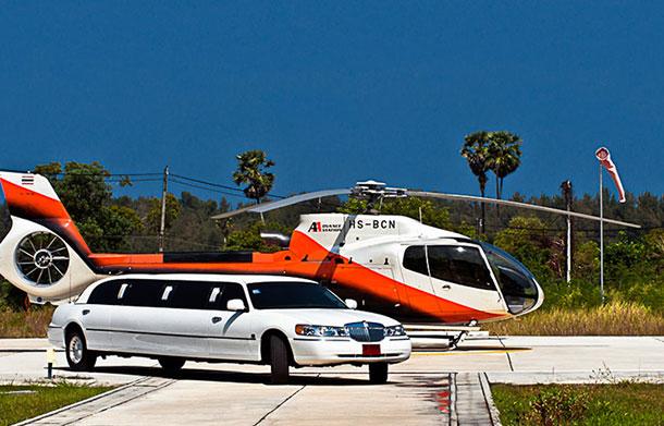 Helicopter and limo near Phuket, Thailand. Image © Tourism Authority of Thailand.