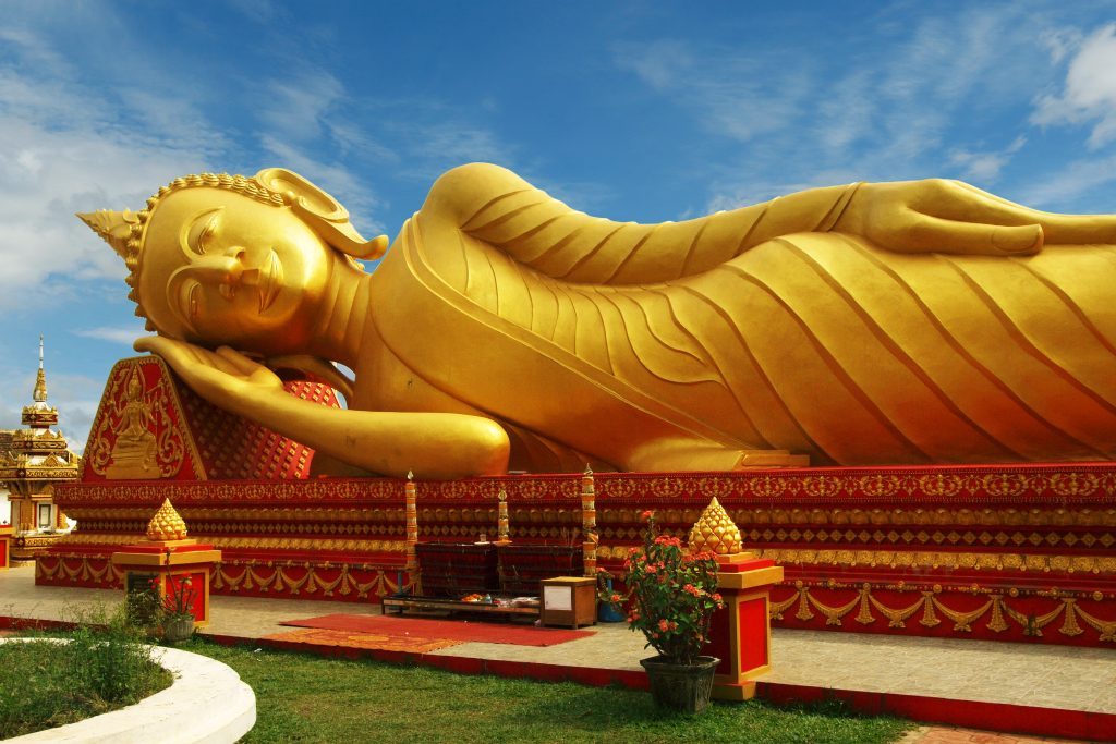 The present That Luang is a national symbol of the Lao peoples and the 44-meter stupa is coated in some 500kg of gold leaf. Visit SoutheastAsia.