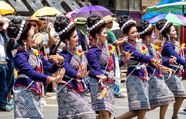 Parade participants, Yasothon Bun Bang Fai Festival. Sheila Dee/Creative Commons