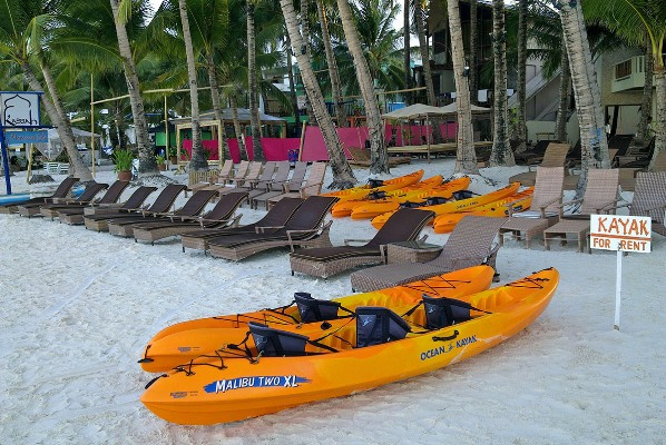 Kayak for rent on Boracay White Beach, Philippines