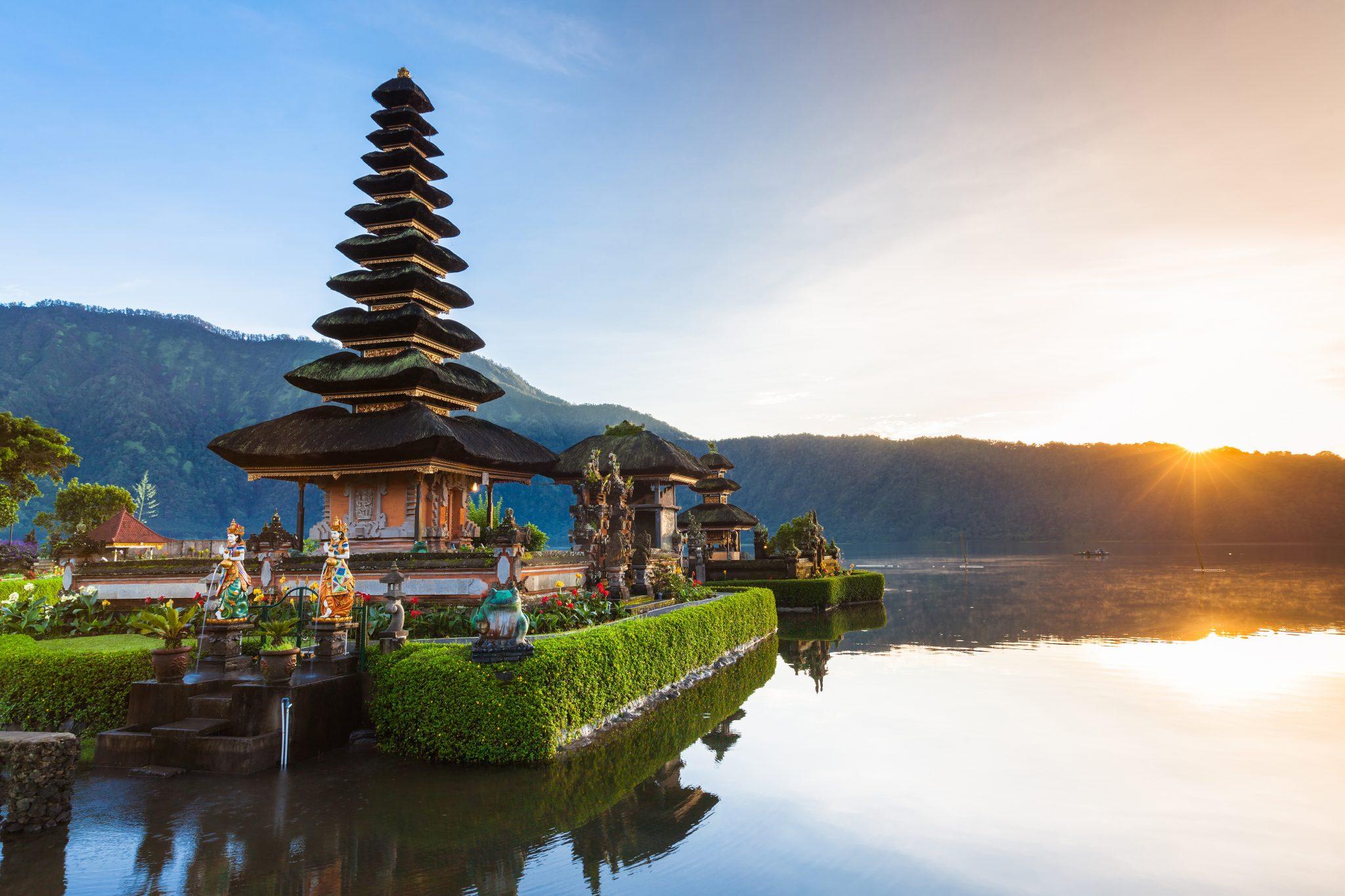 The Ulun Danu Beratan Temple was built in 1633 CE and dedicated to the Balinese lake goddess Dewi Danu. Visit SoutheastAsia.